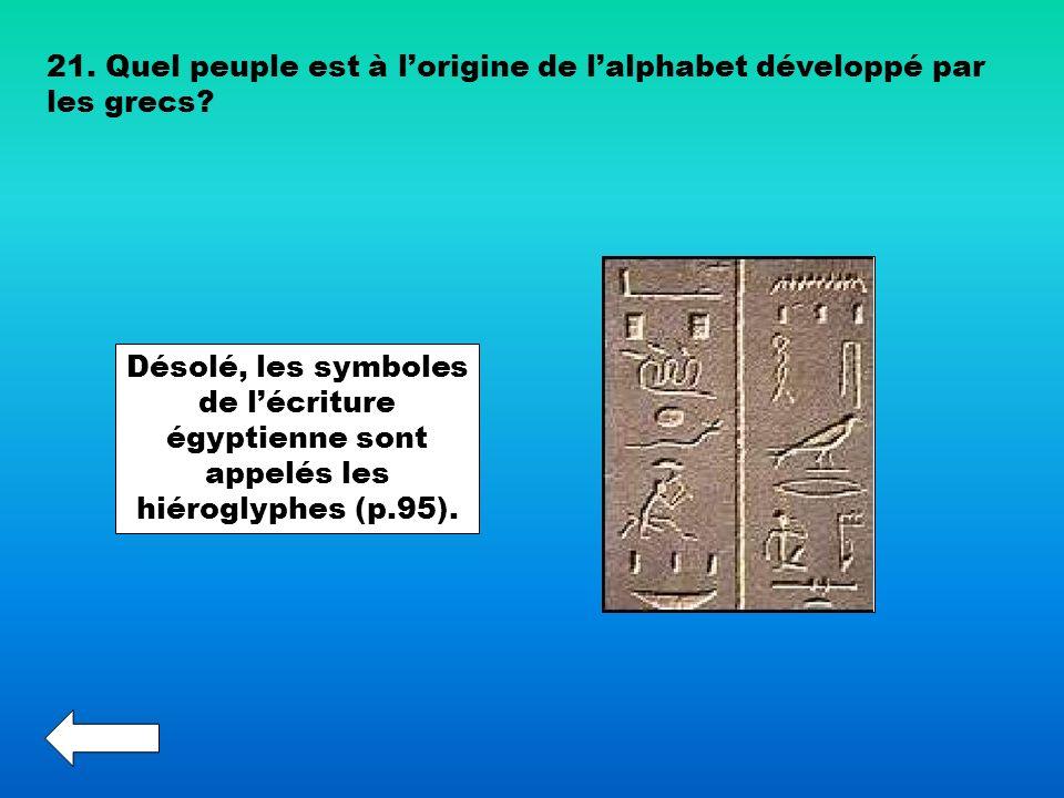 21. Quel peuple est à lorigine de lalphabet développé par les grecs? Désolé, les symboles de lécriture égyptienne sont appelés les hiéroglyphes (p.95)