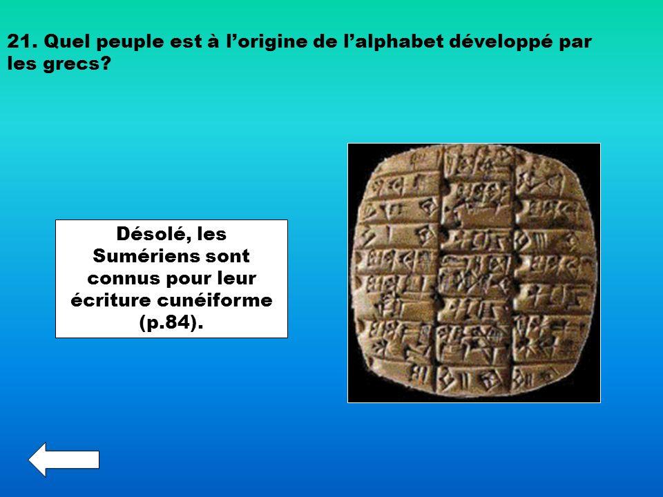 21. Quel peuple est à lorigine de lalphabet développé par les grecs? Désolé, les Sumériens sont connus pour leur écriture cunéiforme (p.84).