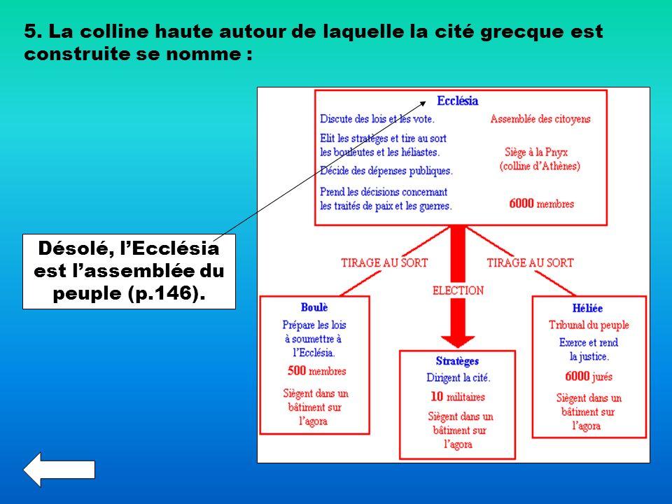 5. La colline haute autour de laquelle la cité grecque est construite se nomme : Désolé, lEcclésia est lassemblée du peuple (p.146).
