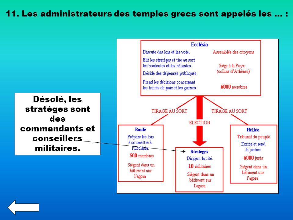 11. Les administrateurs des temples grecs sont appelés les … : Désolé, les stratèges sont des commandants et conseillers militaires.