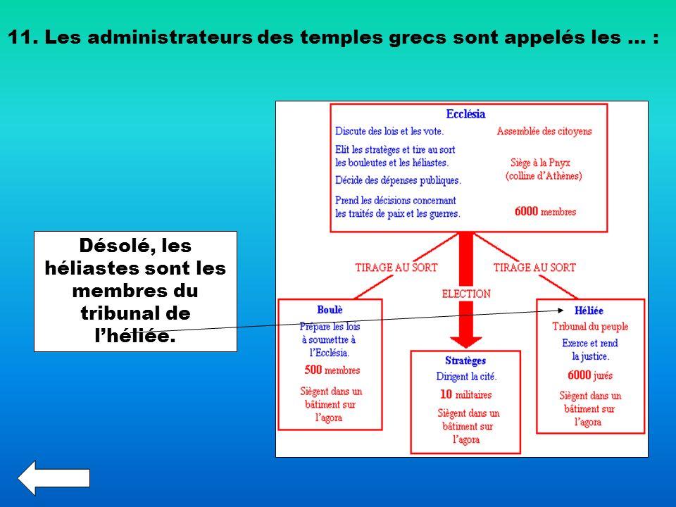 11. Les administrateurs des temples grecs sont appelés les … : Désolé, les héliastes sont les membres du tribunal de lhéliée.