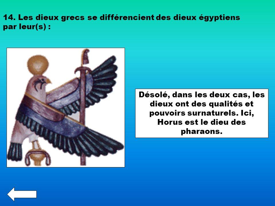 14. Les dieux grecs se différencient des dieux égyptiens par leur(s) : Désolé, dans les deux cas, les dieux ont des qualités et pouvoirs surnaturels.