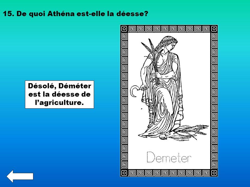 15. De quoi Athéna est-elle la déesse? Désolé, Déméter est la déesse de lagriculture.