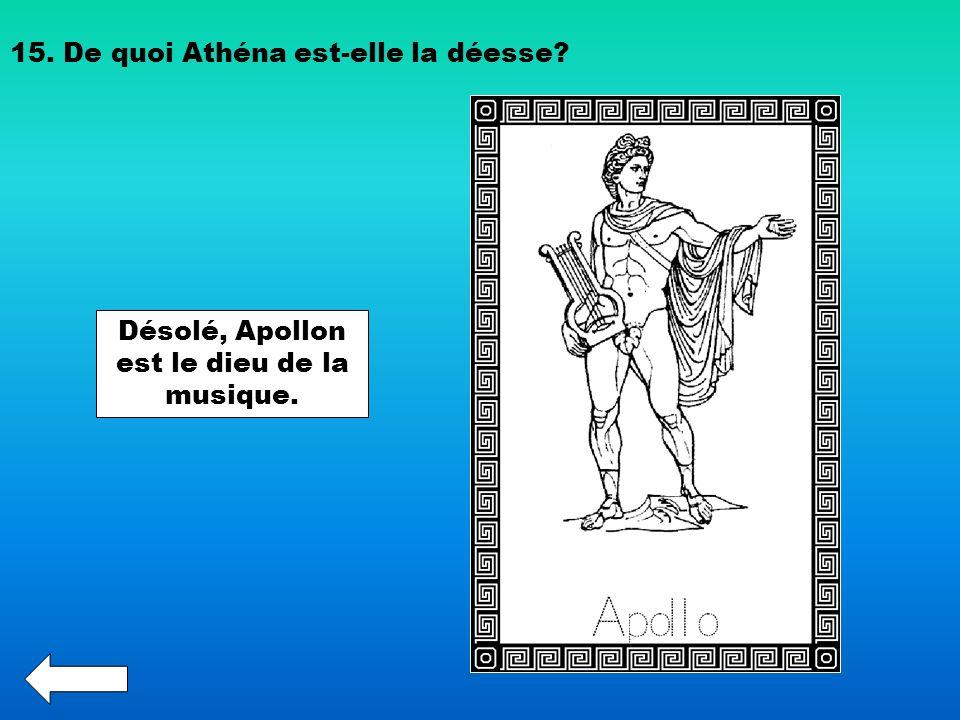 15. De quoi Athéna est-elle la déesse? Désolé, Apollon est le dieu de la musique.