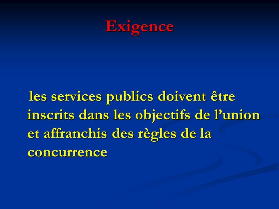 Exigence les services publics doivent être inscrits dans les objectifs de lunion et affranchis des règles de la concurrence les services publics doivent être inscrits dans les objectifs de lunion et affranchis des règles de la concurrence