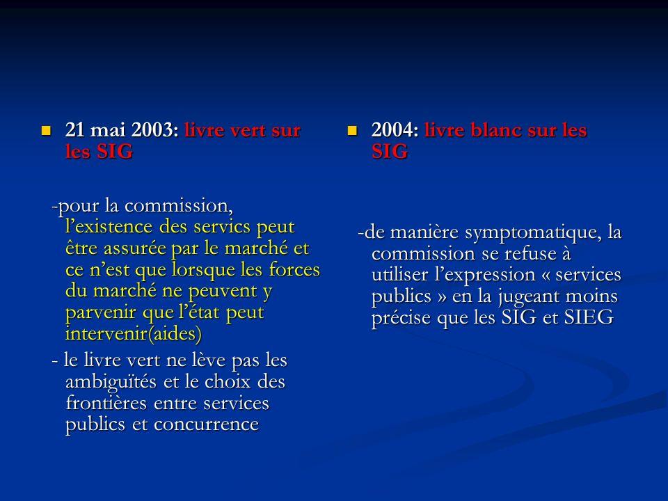21 mai 2003: livre vert sur les SIG 21 mai 2003: livre vert sur les SIG -pour la commission, lexistence des servics peut être assurée par le marché et ce nest que lorsque les forces du marché ne peuvent y parvenir que létat peut intervenir(aides) -pour la commission, lexistence des servics peut être assurée par le marché et ce nest que lorsque les forces du marché ne peuvent y parvenir que létat peut intervenir(aides) - le livre vert ne lève pas les ambiguïtés et le choix des frontières entre services publics et concurrence - le livre vert ne lève pas les ambiguïtés et le choix des frontières entre services publics et concurrence 2004: livre blanc sur les SIG -de manière symptomatique, la commission se refuse à utiliser lexpression « services publics » en la jugeant moins précise que les SIG et SIEG