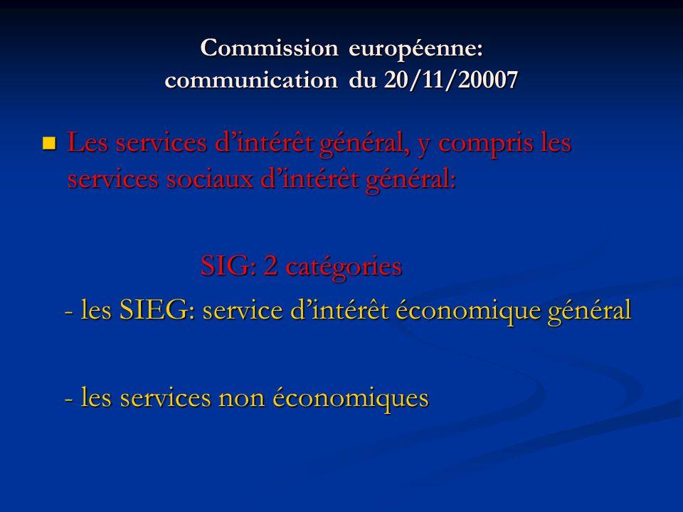 Commission européenne: communication du 20/11/20007 Les services dintérêt général, y compris les services sociaux dintérêt général: Les services dintérêt général, y compris les services sociaux dintérêt général: SIG: 2 catégories SIG: 2 catégories - les SIEG: service dintérêt économique général - les SIEG: service dintérêt économique général - les services non économiques - les services non économiques