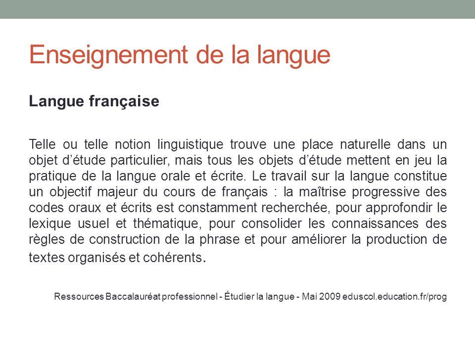 Enseignement de la langue Langue française Telle ou telle notion linguistique trouve une place naturelle dans un objet détude particulier, mais tous l