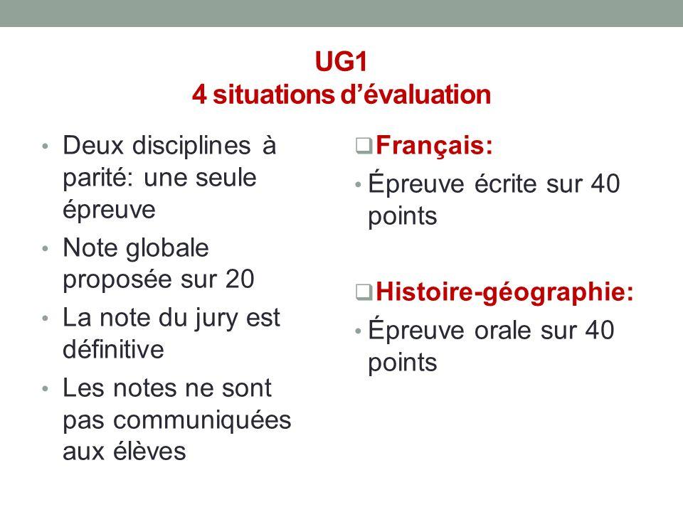 UG1 4 situations dévaluation Deux disciplines à parité: une seule épreuve Note globale proposée sur 20 La note du jury est définitive Les notes ne son