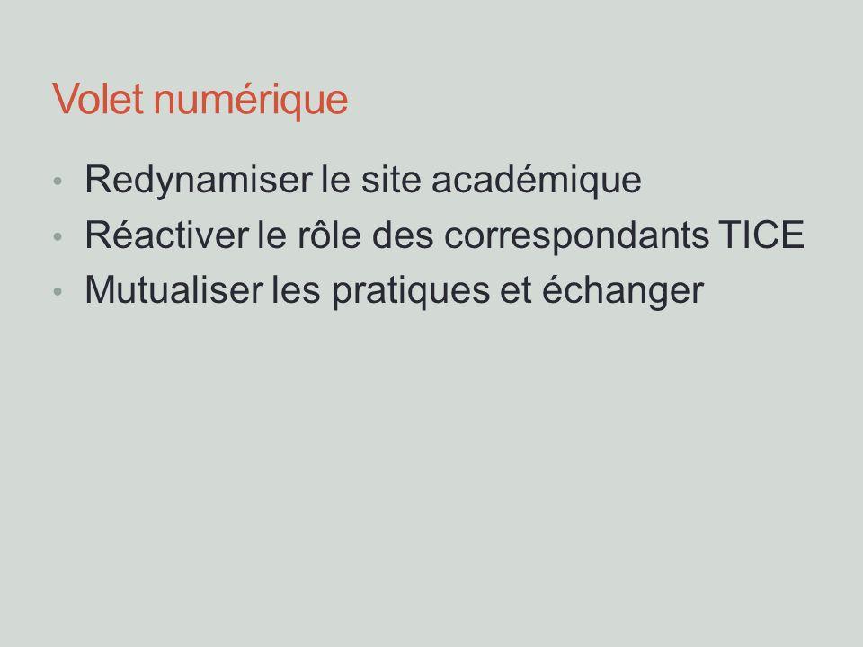 Volet numérique Redynamiser le site académique Réactiver le rôle des correspondants TICE Mutualiser les pratiques et échanger