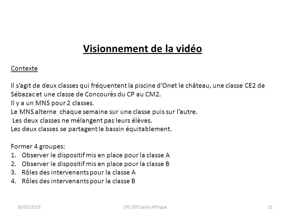 Visionnement de la vidéo Contexte Il sagit de deux classes qui fréquentent la piscine dOnet le château, une classe CE2 de Sébazac et une classe de Con