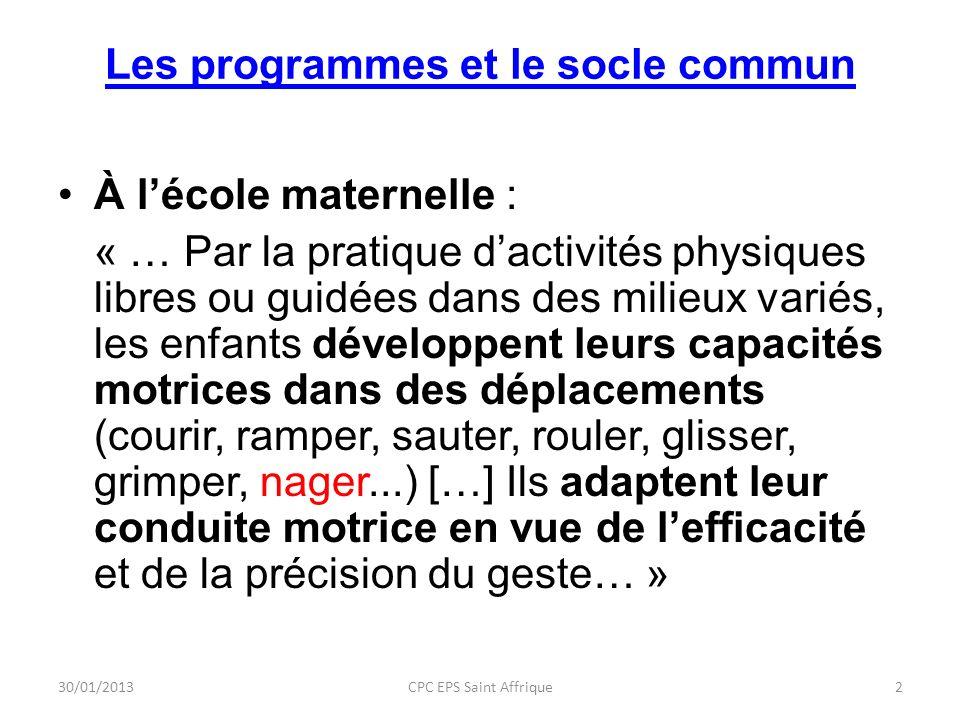 Les programmes et le socle commun À lécole maternelle : « … Par la pratique dactivités physiques libres ou guidées dans des milieux variés, les enfant