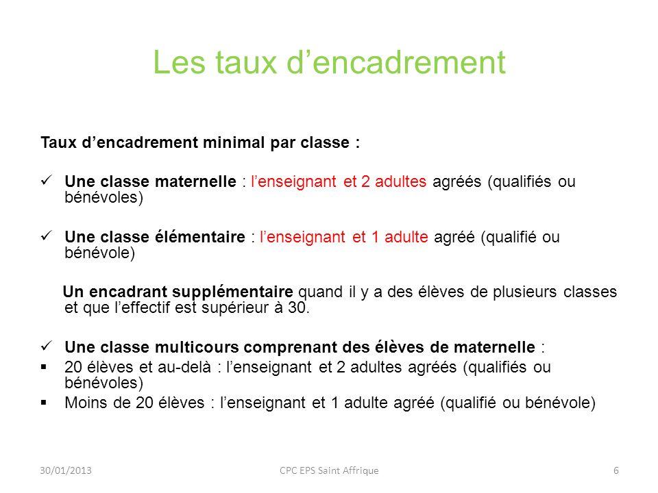 Les taux dencadrement Taux dencadrement minimal par classe : Une classe maternelle : lenseignant et 2 adultes agréés (qualifiés ou bénévoles) Une clas
