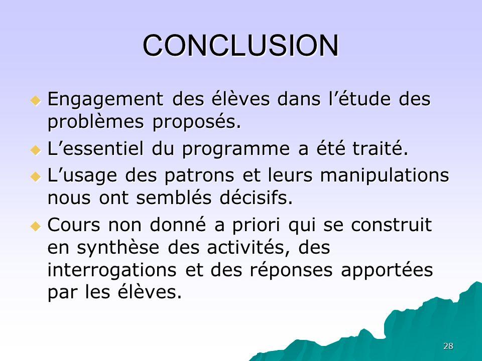 28 CONCLUSION Engagement des élèves dans létude des problèmes proposés. Engagement des élèves dans létude des problèmes proposés. Lessentiel du progra