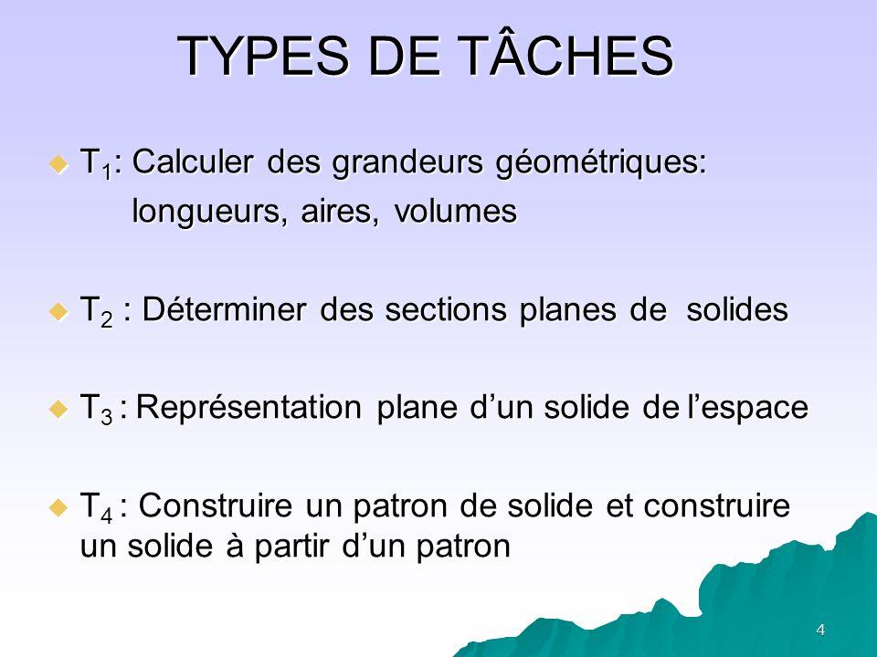 5 AER proposées Initiées par trois problèmes 1.Réalisation de patrons de pyramides à partir dune représentation en perspective ( T 4 et T 3 ) 2.Détermination dune pyramide à base carrée de volume maximal (T 1 et T 4 ) 3.Coupe par un plan dune pyramide ( T 2 et T 4 )
