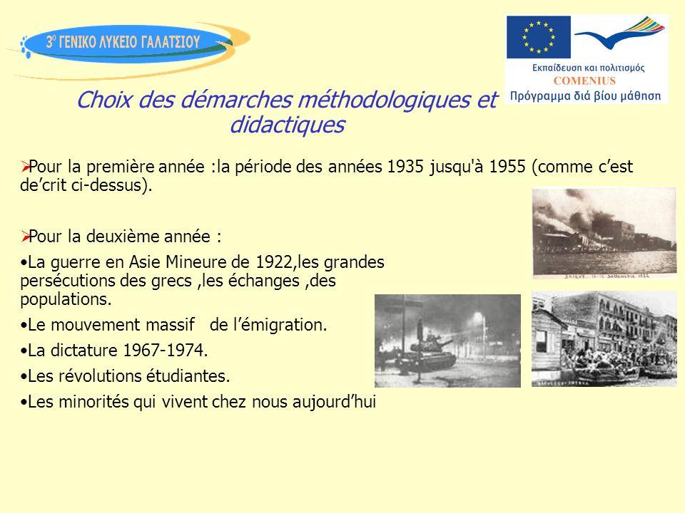 Choix des démarches méthodologiques et didactiques Pour la première année :la période des années 1935 jusqu à 1955 (comme cest decrit ci-dessus).