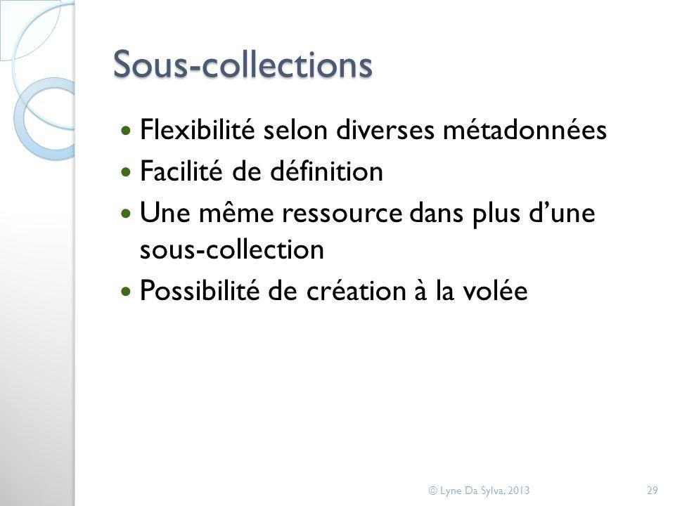 Sous-collections Flexibilité selon diverses métadonnées Facilité de définition Une même ressource dans plus dune sous-collection Possibilité de création à la volée © Lyne Da Sylva, 201329