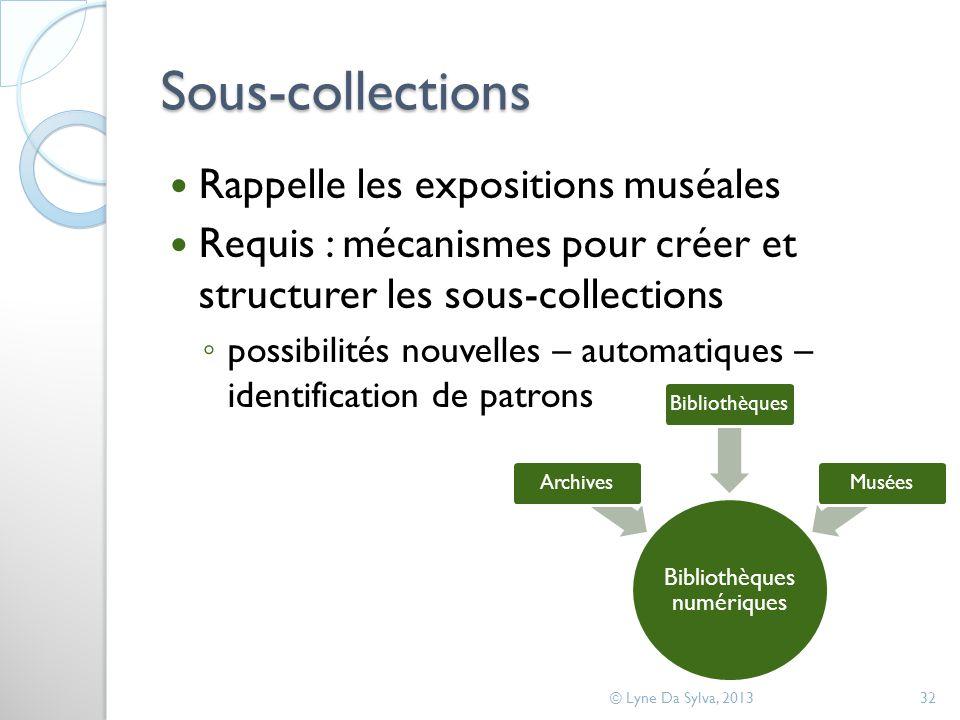 Sous-collections Rappelle les expositions muséales Requis : mécanismes pour créer et structurer les sous-collections possibilités nouvelles – automati