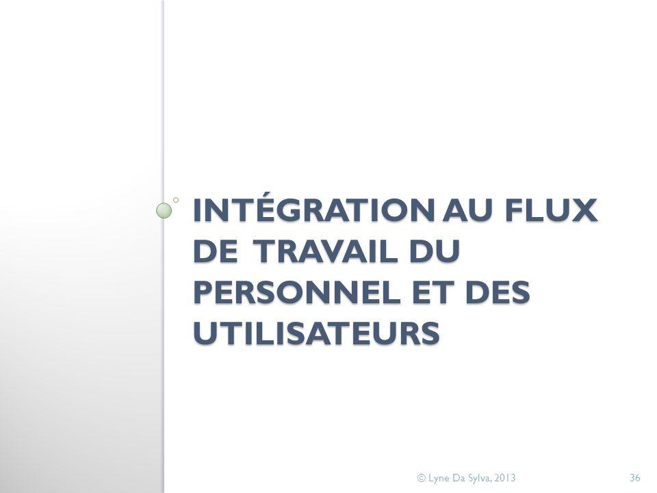 INTÉGRATION AU FLUX DE TRAVAIL DU PERSONNEL ET DES UTILISATEURS © Lyne Da Sylva, 201336