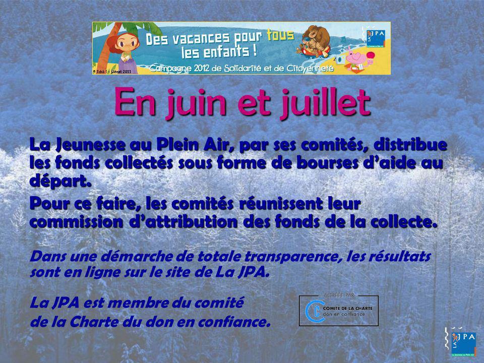 En juin et juillet La Jeunesse au Plein Air, par ses comités, distribue les fonds collectés sous forme de bourses daide au départ.