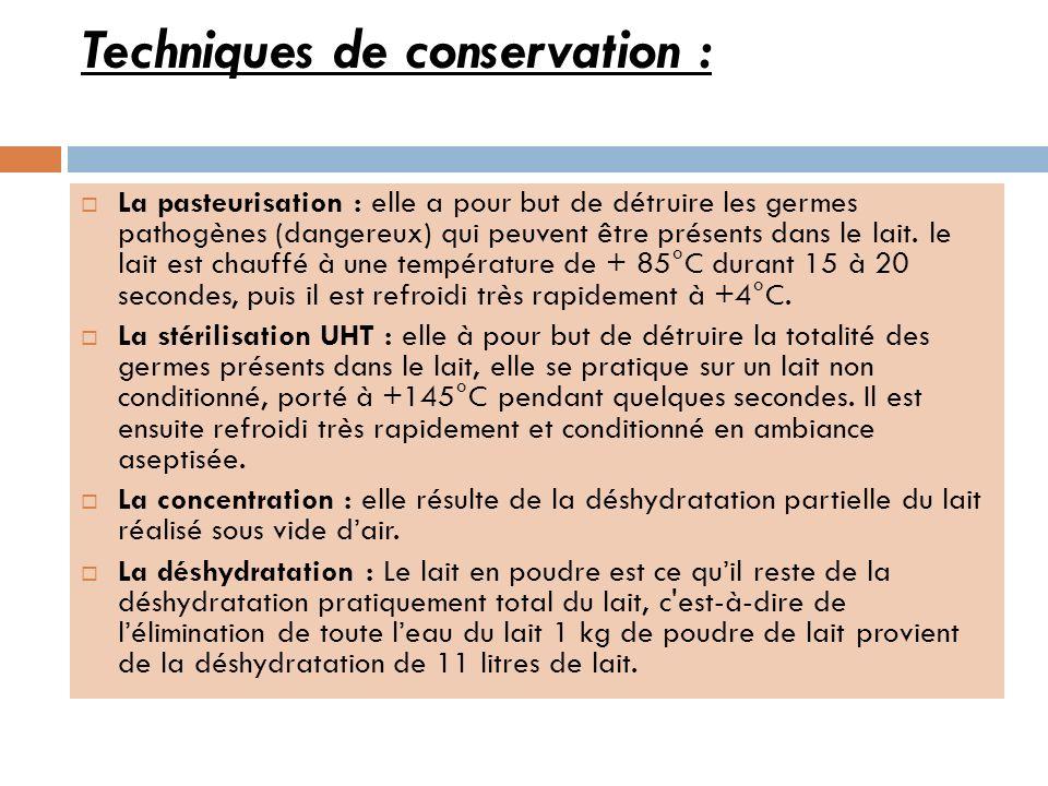 Techniques de conservation : La pasteurisation : elle a pour but de détruire les germes pathogènes (dangereux) qui peuvent être présents dans le lait.