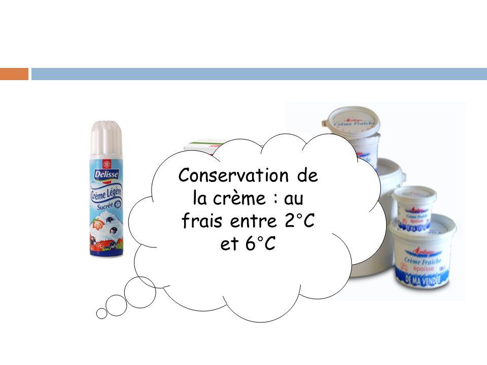 Conservation de la crème : au frais entre 2°C et 6°C