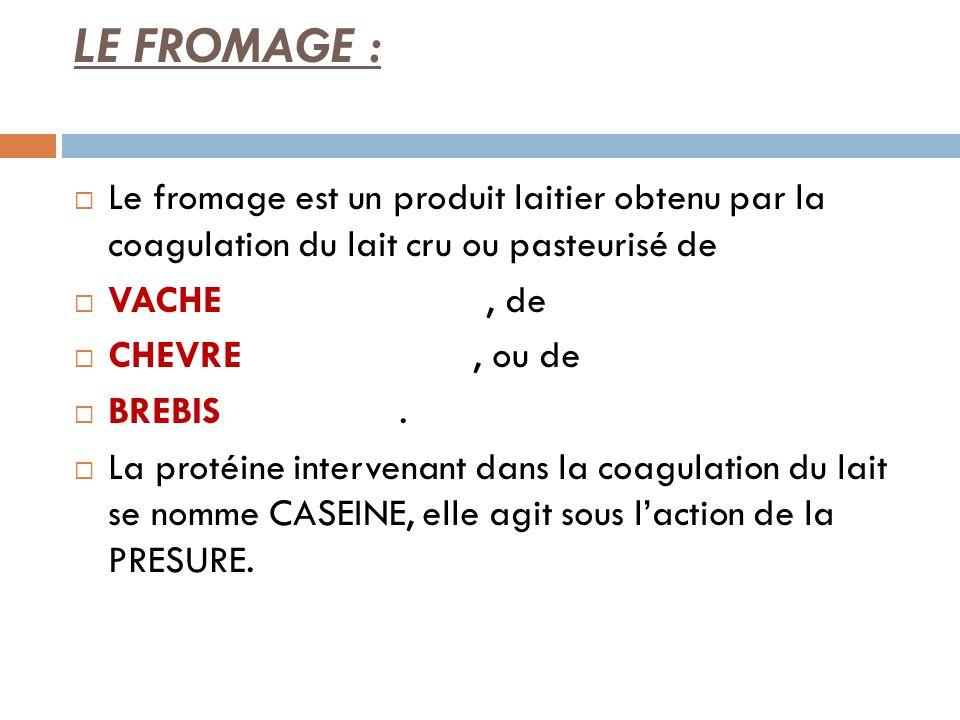 LE FROMAGE : Le fromage est un produit laitier obtenu par la coagulation du lait cru ou pasteurisé de VACHE, de CHEVRE, ou de BREBIS. La protéine inte