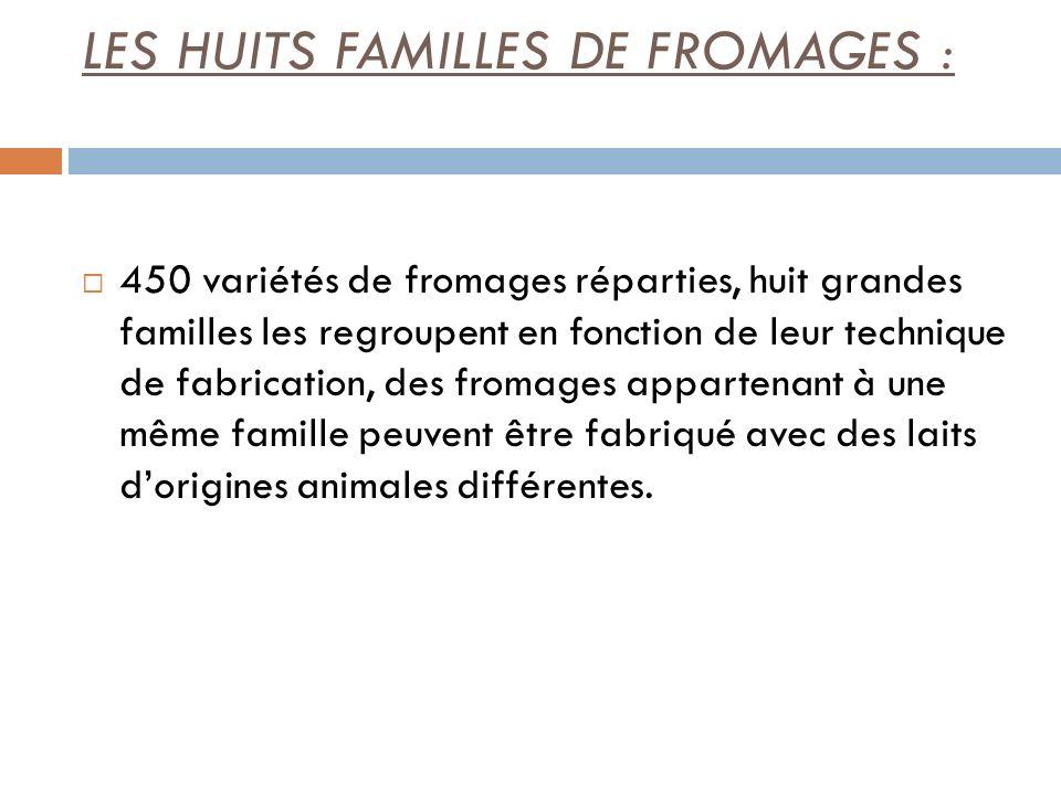 LES HUITS FAMILLES DE FROMAGES : 450 variétés de fromages réparties, huit grandes familles les regroupent en fonction de leur technique de fabrication