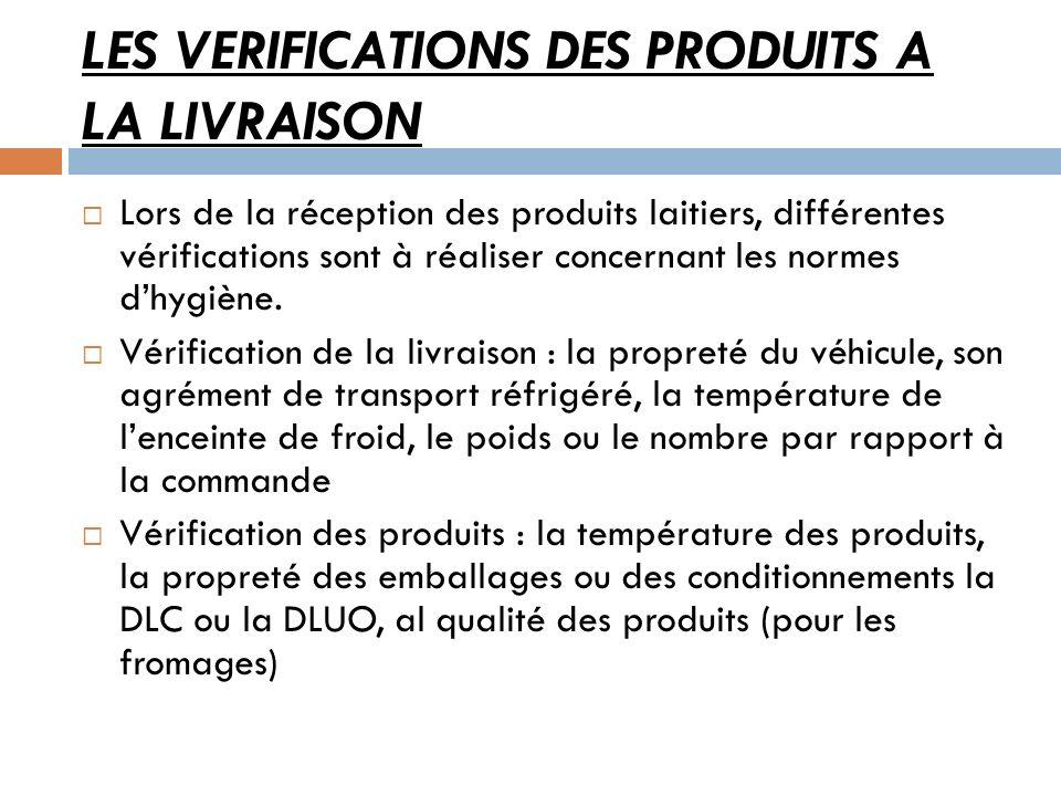 LES VERIFICATIONS DES PRODUITS A LA LIVRAISON Lors de la réception des produits laitiers, différentes vérifications sont à réaliser concernant les nor