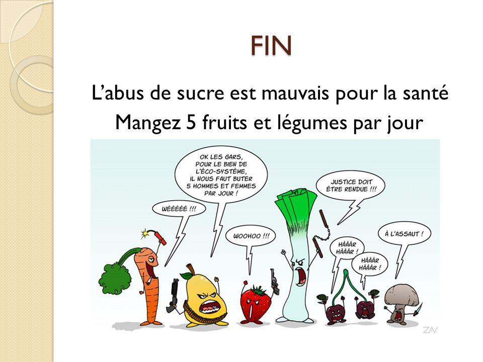 FIN FIN Labus de sucre est mauvais pour la santé Mangez 5 fruits et légumes par jour