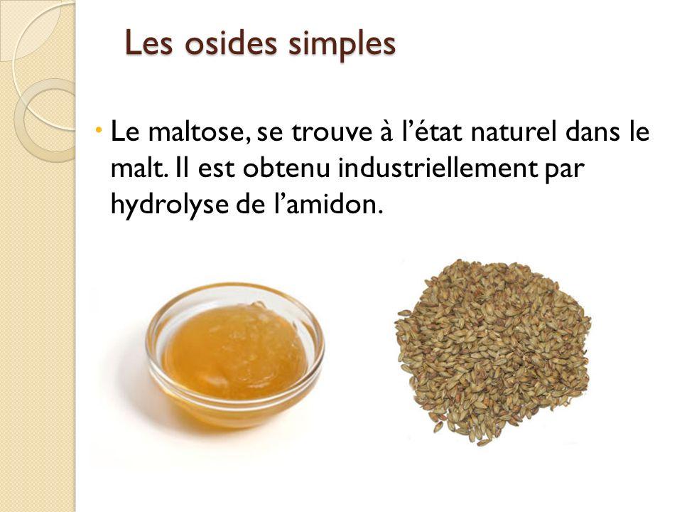 Les osides simples Les osides simples Le maltose, se trouve à létat naturel dans le malt. Il est obtenu industriellement par hydrolyse de lamidon.
