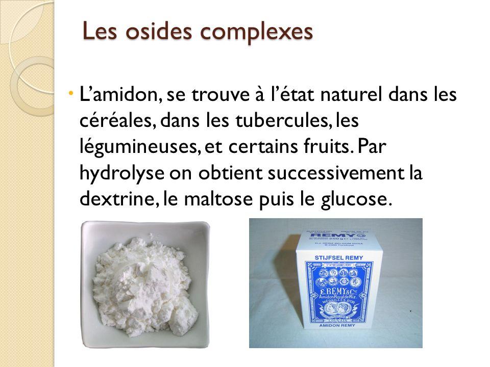 Les osides complexes Lamidon, se trouve à létat naturel dans les céréales, dans les tubercules, les légumineuses, et certains fruits. Par hydrolyse on