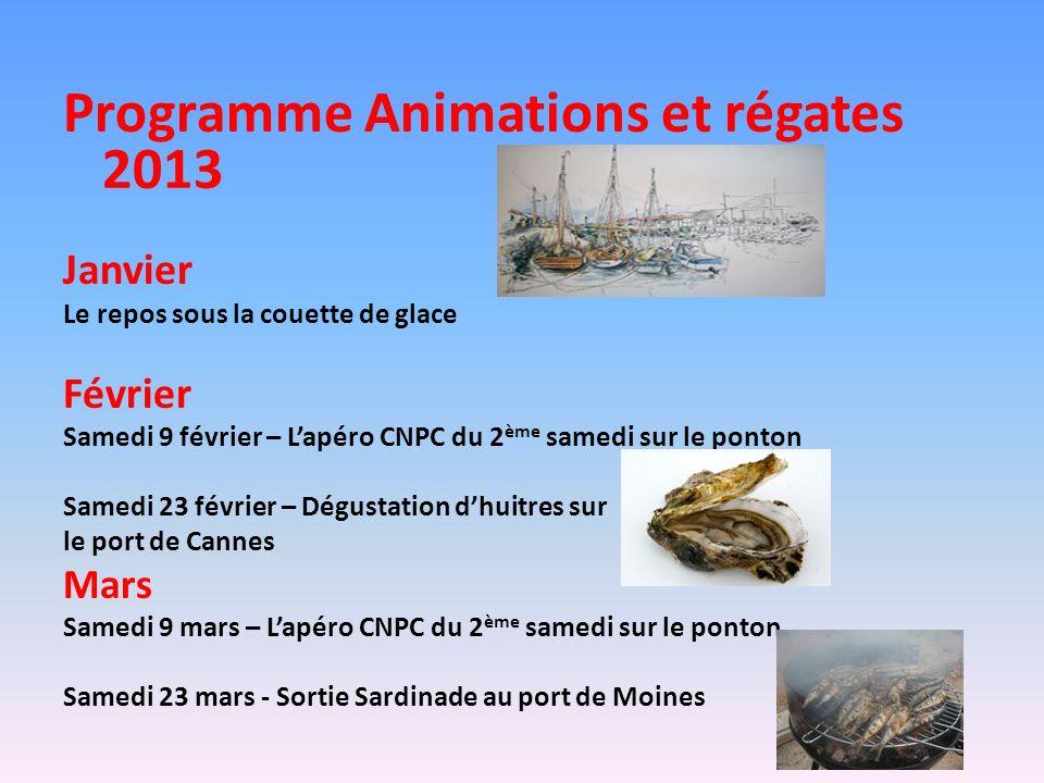 Programme Animations et régates 2013 Janvier Le repos sous la couette de glace Février Samedi 9 février – Lapéro CNPC du 2 ème samedi sur le ponton Sa