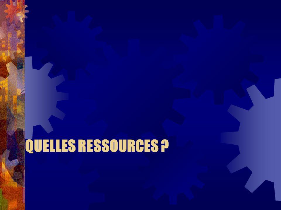 QUELLES RESSOURCES ?