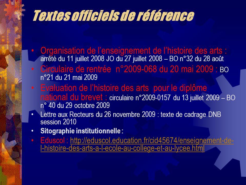 Textes officiels de référence Organisation de lenseignement de lhistoire des arts : arrêté du 11 juillet 2008 JO du 27 juillet 2008 – BO n°32 du 28 ao
