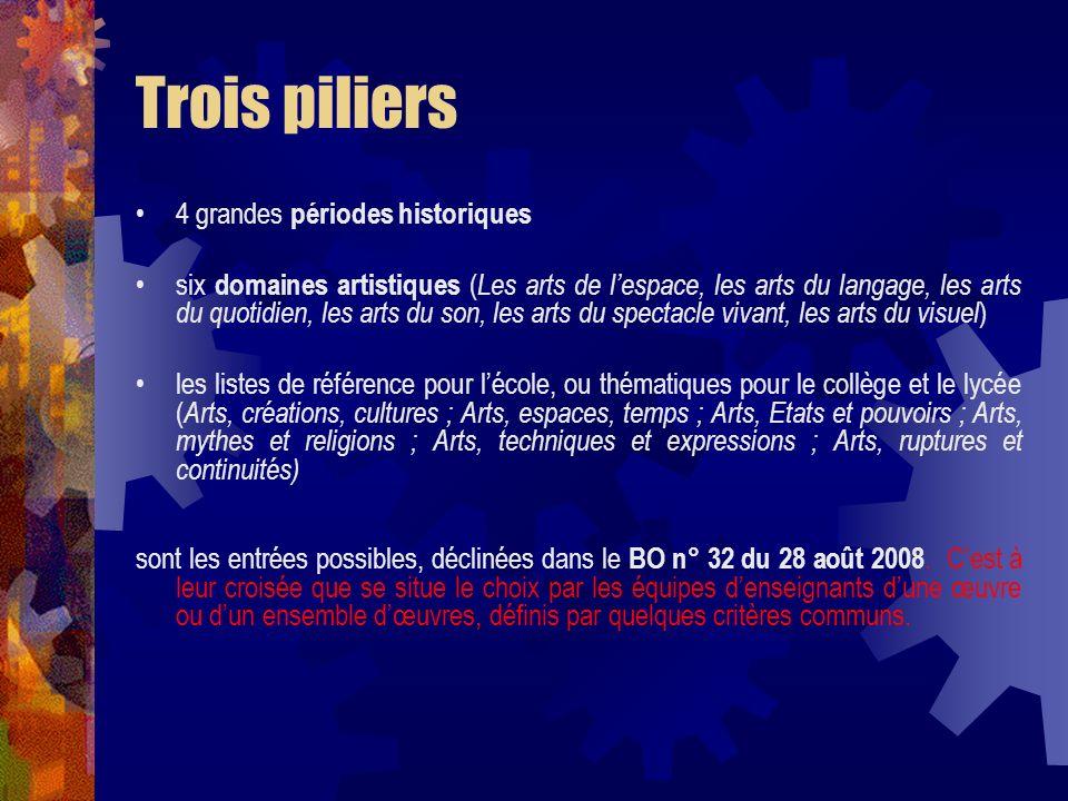 Trois piliers 4 grandes périodes historiques six domaines artistiques ( Les arts de lespace, les arts du langage, les arts du quotidien, les arts du s
