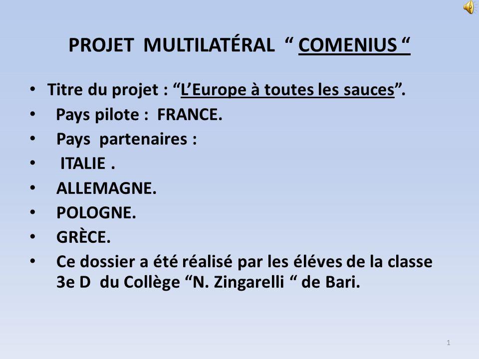 PROJET MULTILATÉRAL COMENIUS Titre du projet : LEurope à toutes les sauces. Pays pilote : FRANCE. Pays partenaires : ITALIE. ALLEMAGNE. POLOGNE. GRÈCE