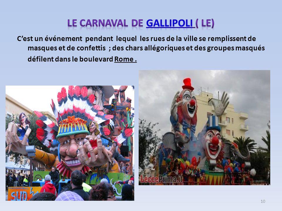 Cest un événement pendant lequel les rues de la ville se remplissent de masques et de confettis ; des chars allégoriques et des groupes masqués défile