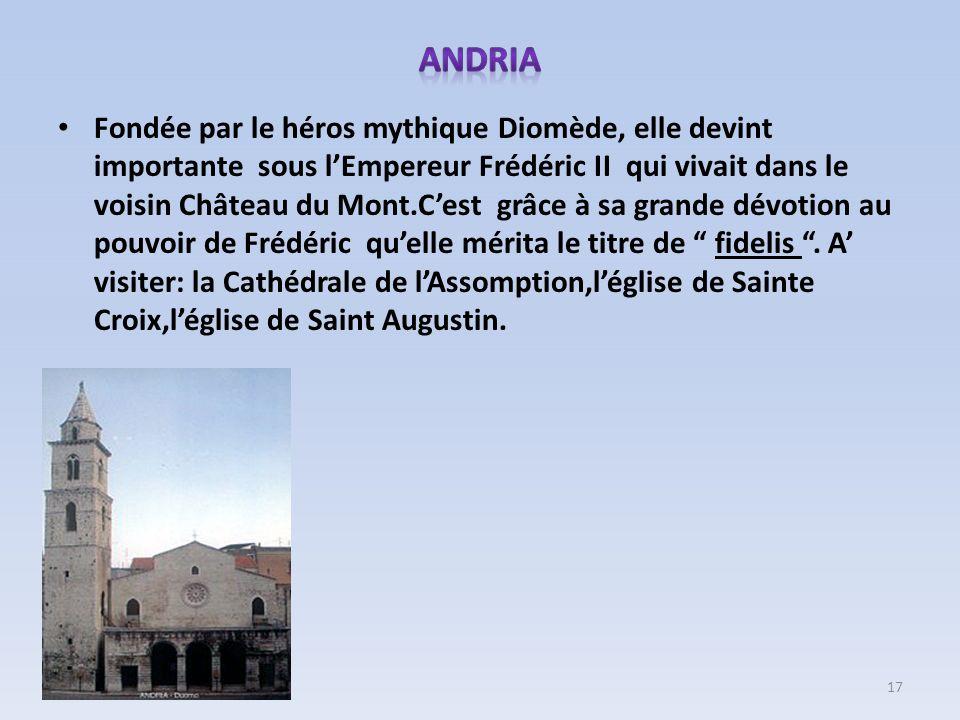 Fondée par le héros mythique Diomède, elle devint importante sous lEmpereur Frédéric II qui vivait dans le voisin Château du Mont.Cest grâce à sa gran