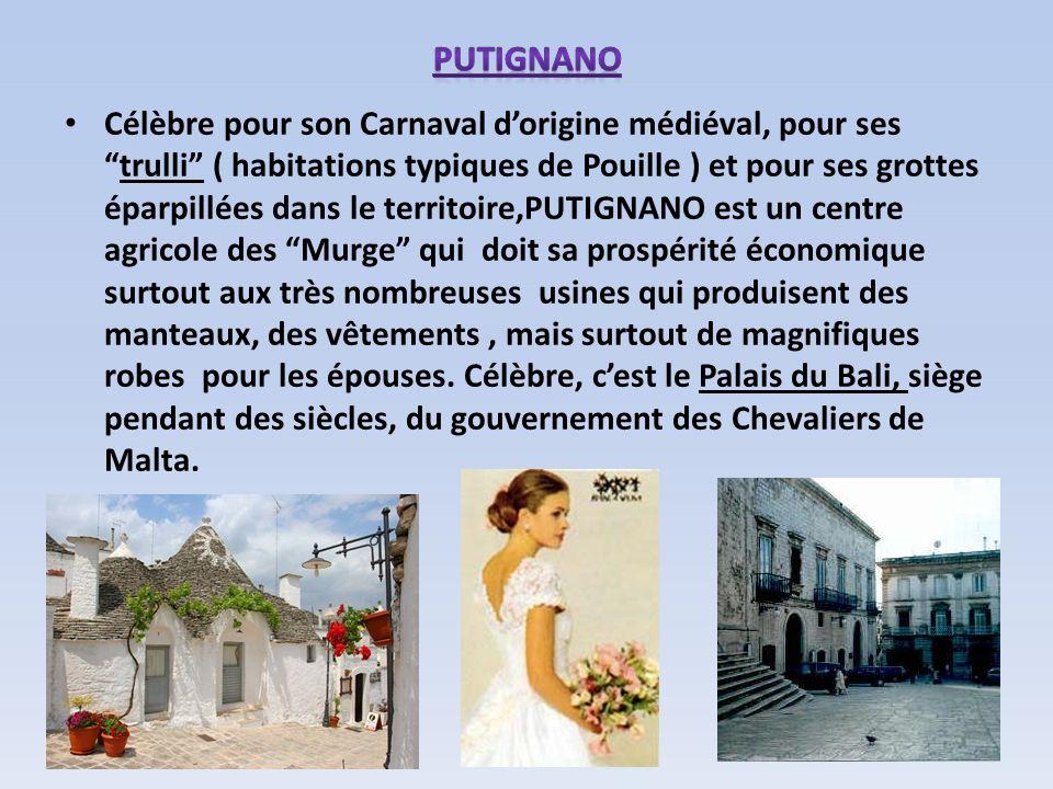 Célèbre pour son Carnaval dorigine médiéval, pour sestrulli ( habitations typiques de Pouille ) et pour ses grottes éparpillées dans le territoire,PUT