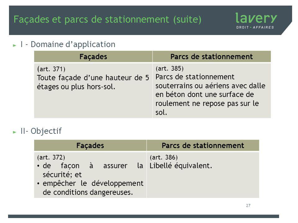 Façades et parcs de stationnement (suite) I - Domaine dapplication II- Objectif FaçadesParcs de stationnement ( art. 371) Toute façade dune hauteur de