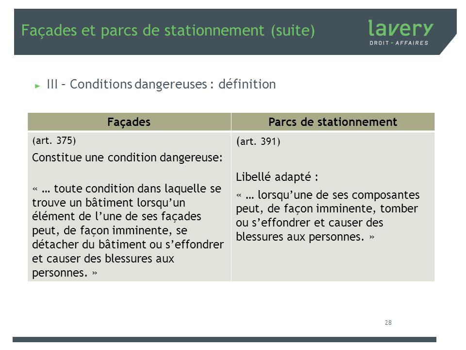 Façades et parcs de stationnement (suite) III – Conditions dangereuses : définition FaçadesParcs de stationnement (art. 375) Constitue une condition d