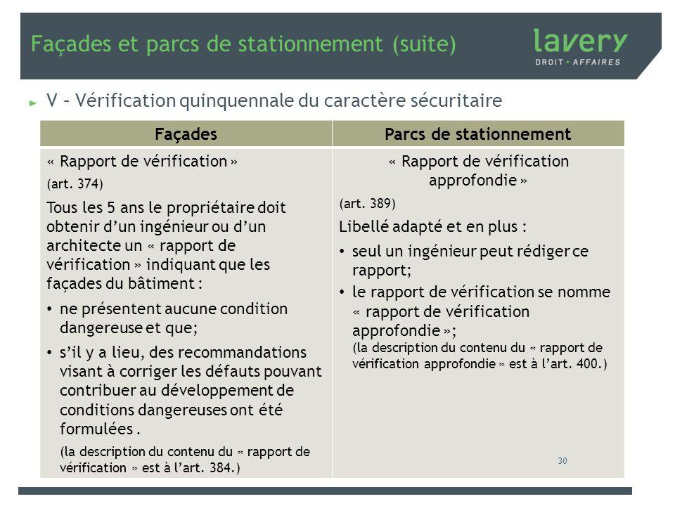 Façades et parcs de stationnement (suite) V – Vérification quinquennale du caractère sécuritaire FaçadesParcs de stationnement « Rapport de vérificati