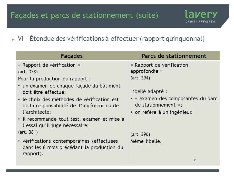Façades et parcs de stationnement (suite) VI – Étendue des vérifications à effectuer (rapport quinquennal) FaçadesParcs de stationnement « Rapport de
