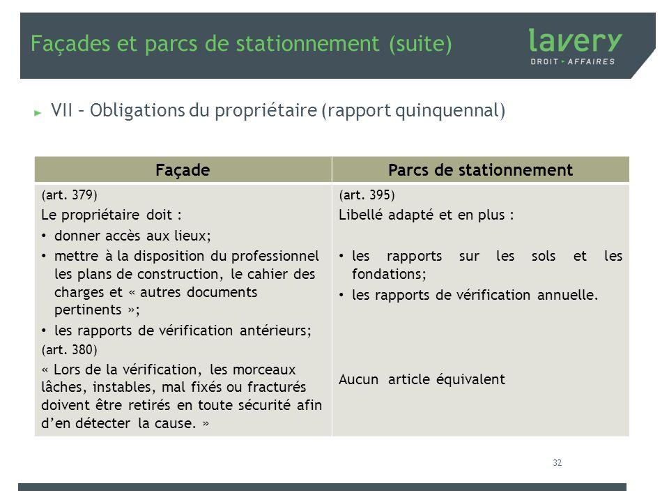 Façades et parcs de stationnement (suite) VII – Obligations du propriétaire (rapport quinquennal) FaçadeParcs de stationnement (art. 379) Le propriéta