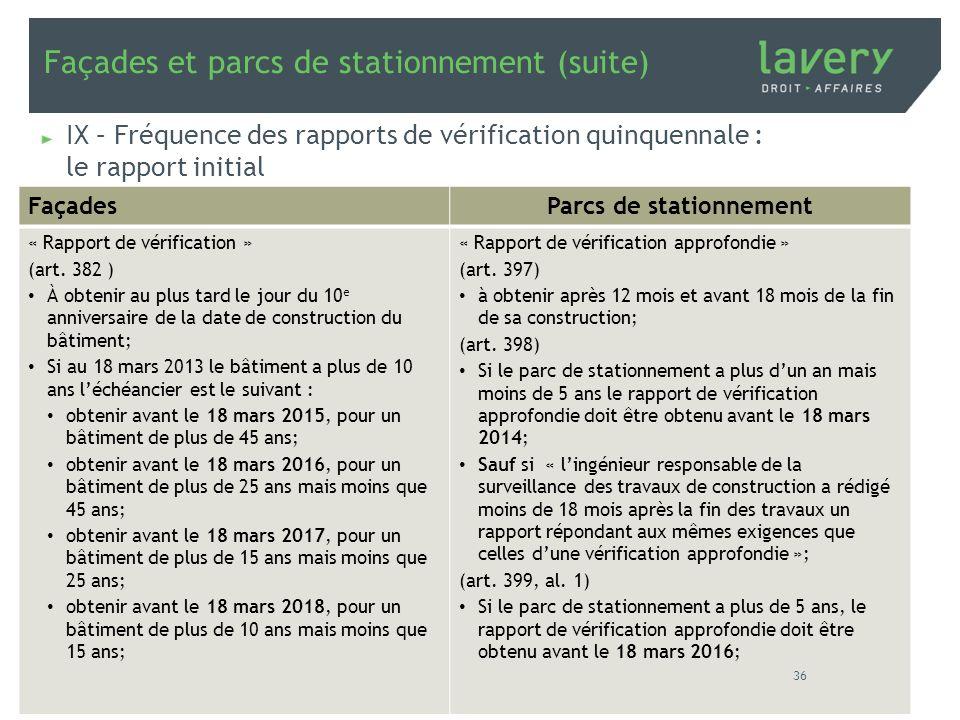 Façades et parcs de stationnement (suite) IX – Fréquence des rapports de vérification quinquennale : le rapport initial FaçadesParcs de stationnement