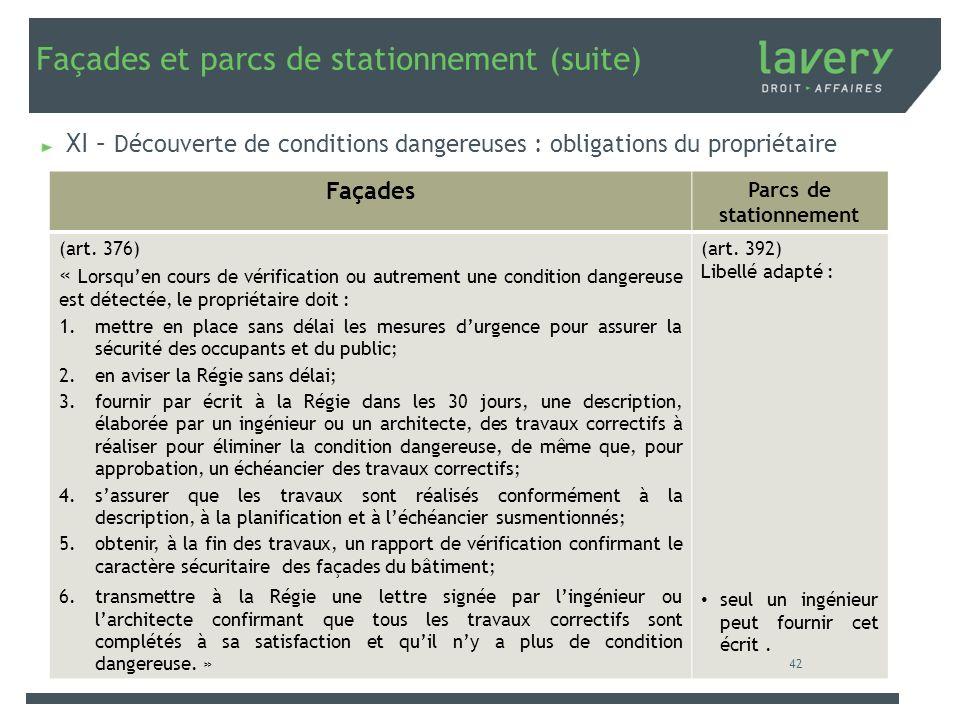 Façades et parcs de stationnement (suite) XI – Découverte de conditions dangereuses : obligations du propriétaire Façades Parcs de stationnement (art.
