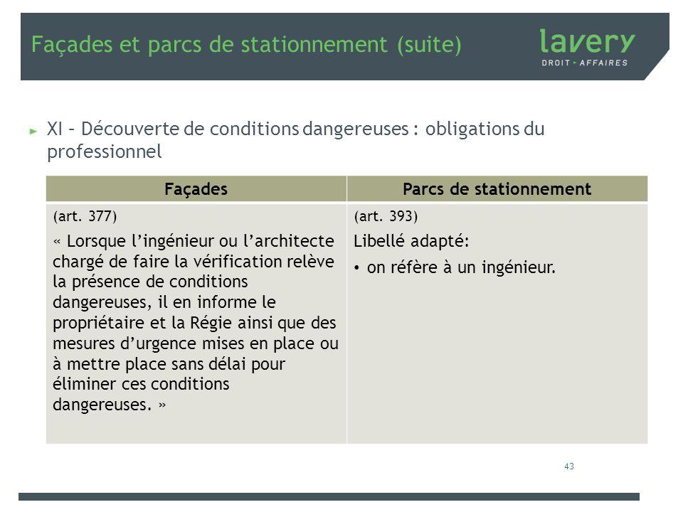 Façades et parcs de stationnement (suite) XI – Découverte de conditions dangereuses : obligations du professionnel FaçadesParcs de stationnement (art.