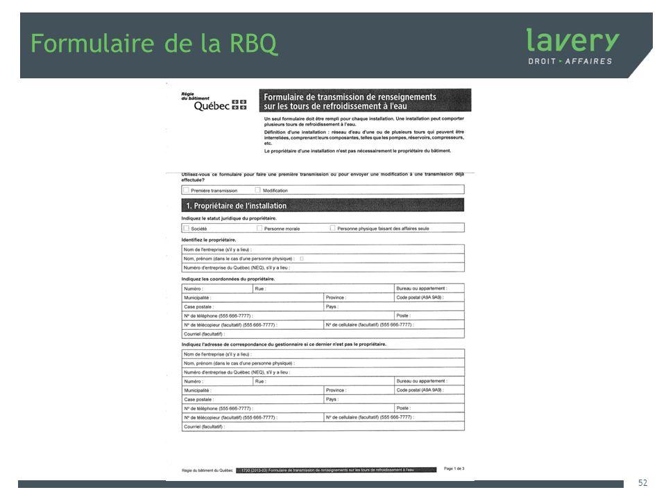 Formulaire de la RBQ 52