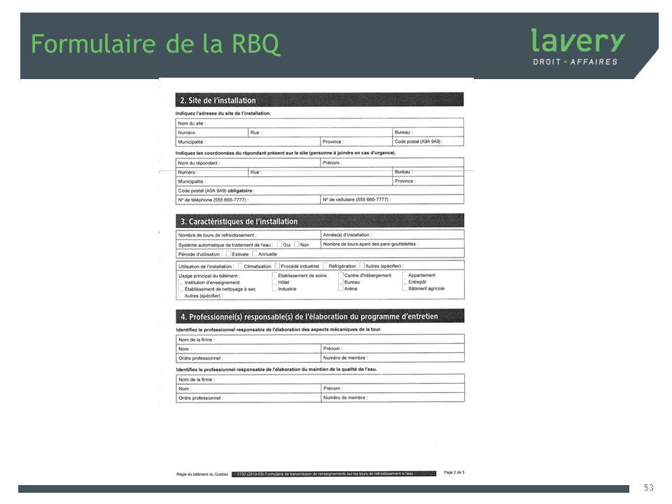 Formulaire de la RBQ 53